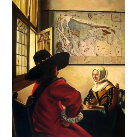 Soldado y chica sonriendo de Vermeer
