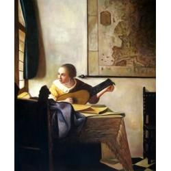 Chica con laúd junto a la ventana de Vermeer