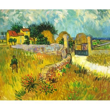 Campos de trigo frente al pueblo de Van Gogh