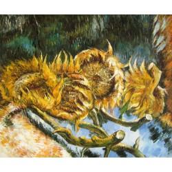 Cuatro girasoles cortados de Van Gogh