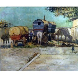 Cuadro de Caravanas de gitanos cerca de Arlés de Van gogh