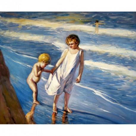 Dos niños en una playa de Valencia de Sorolla