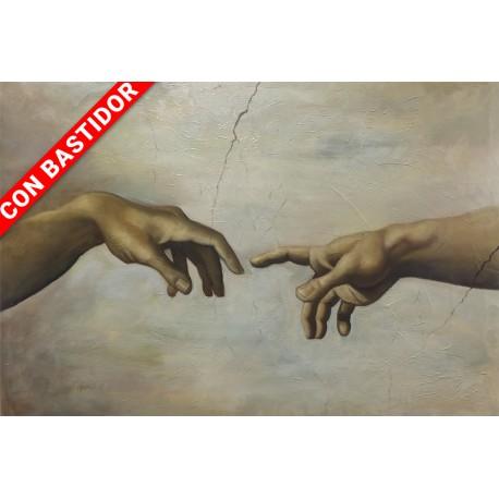 La creación de Adán (detalle manos) de Miguel Ángel