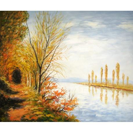 A orillas del canal en verano de Sisley
