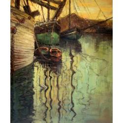 Barcos veleros en agua moviéndose de Schiele