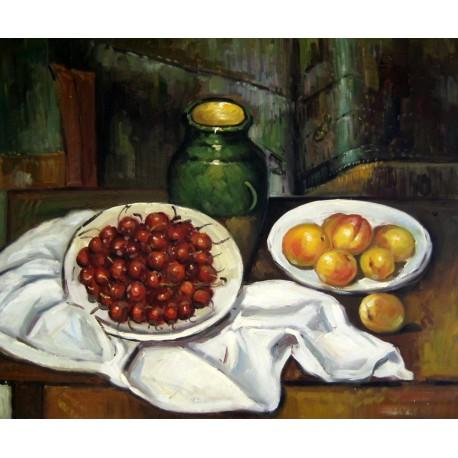 Bodegón con cerezas y melocotones de Cézanne