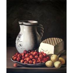 Bodegón con cerezas, ciruelas, queso y jarra de Meléndez