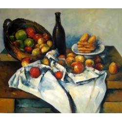 Bodegón con cesto de manzanas de Cézanne