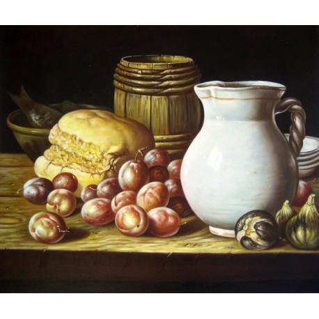 Bodegón con ciruelas, brevas, pan, barrilete, jarra y otros recipientes de Meléndez