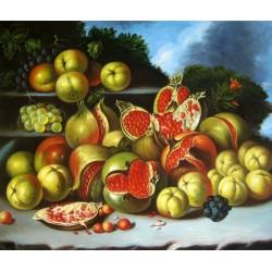 Bodegón con granadas, manzanas, acerolas y uvas en un paisaje de Meléndez