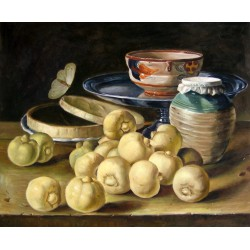 Bodegón con limas, caja de jalea, mariposa y recipientes de Meléndez