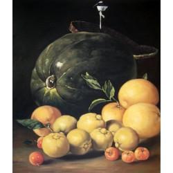 Bodegón con membrillos, melocotones, uvas y melón de Meléndez