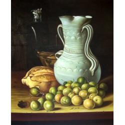 Bodegón con peritas, pan, cuenco y frasca de Meléndez