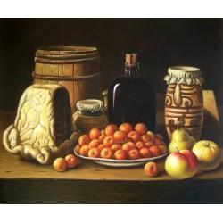 Bodegón con plato de acerolas, queso y recipientes de Meléndez