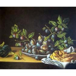 Bodegón con plato de ciruelas, brevas y rosca de pan de Meléndez