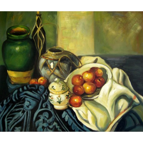Bodegón con recipientes de Cézanne