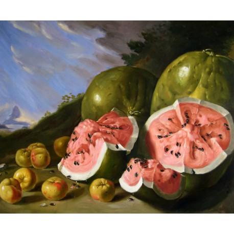 Bodegón con sandías y manzanas en un paisaje de Meléndez