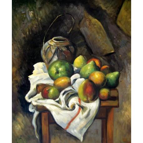 Bodegón con tarro de jengibre y fruta de Cézanne