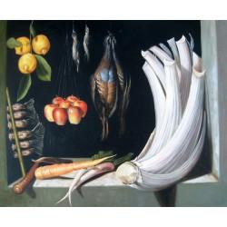 Bodegón de caza, hortalizas y frutas de Sánchez Cotán