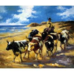 Bueyes en la playa de Sorolla
