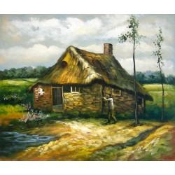 Cabaña con campesino de Van Gogh