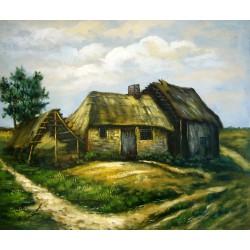 Cabaña con granero ruinoso de Van Gogh