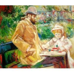 Eugene Manet y su hija en Bougival de Morisot