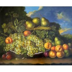 Frutero con uvas, peras, melocotones y ciruelas de Meléndez
