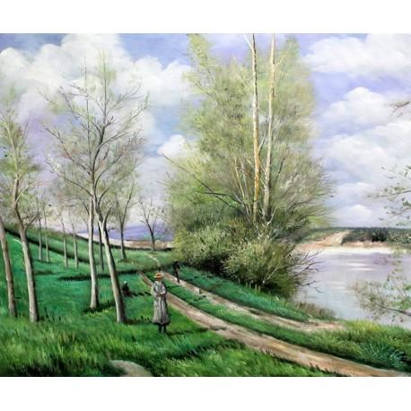 La pequeña pradera en primavera de Sisley