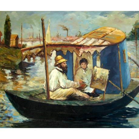 Monet pintando en su barco estudio de Manet
