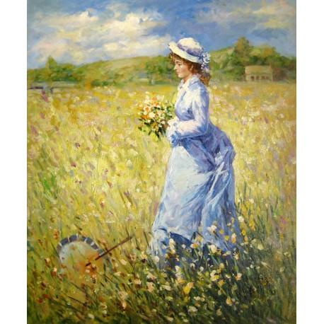 Mujer recogiendo flores de Renoir