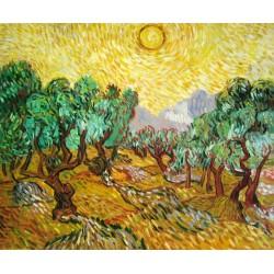 Olivos con cielo amarillo y sol de Van Gogh