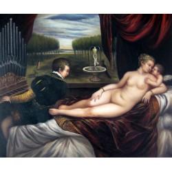 Venus con organista y cupido de Tiziano